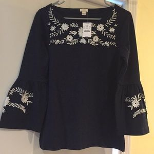 J. Crew long sleeved top with flare sleeves